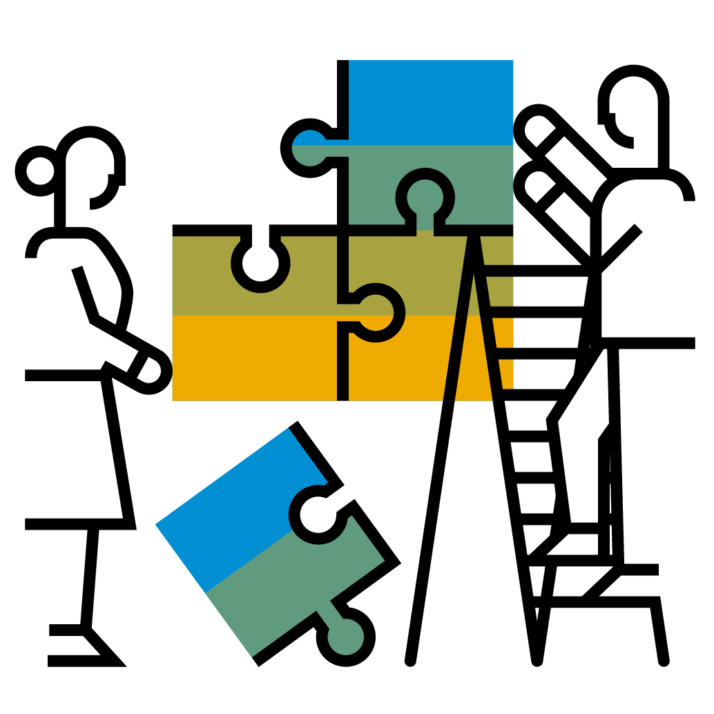 People Building Puzzle Pictogram - Blue